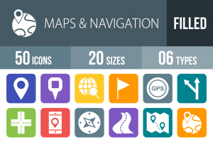 50 Maps & Navigation Flat Round Corner Icons - Overview - IconBunny
