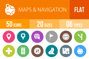 50 Maps & Navigation Flat Round Icons - Overview - IconBunny