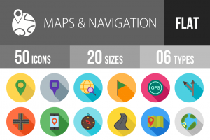 50 Maps & Navigation Flat Shadowed Icons - Overview - IconBunny