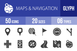 50 Maps & Navigation Glyph Icons - Overview - IconBunny