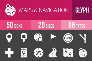 50 Maps & Navigation Glyph Inverted Icons - Overview - IconBunny