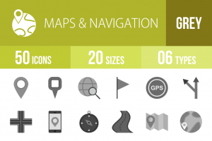 50 Maps & Navigation Greyscale Icons - Overview - IconBunny