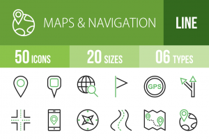 50 Maps & Navigation Line Green Black Icons - Overview - IconBunny