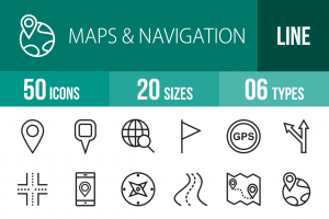 50 Maps & Navigation Line Icons - Overview - IconBunny