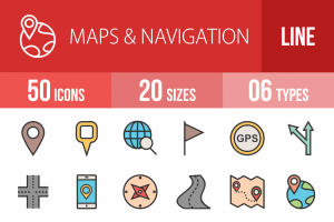 50 Maps & Navigation Line Multicolor Filled Icons - Overview - IconBunny