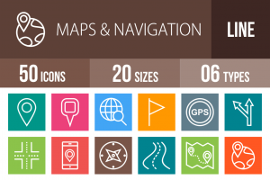 50 Maps & Navigation Line Multicolor B/G Icons - Overview - IconBunny