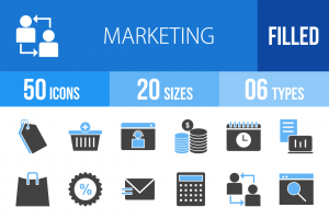 50 Marketing Blue Black Icons - Overview - IconBunny