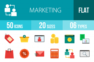 50 Marketing Flat Multicolor Icons - Overview - IconBunny