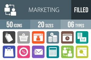 50 Marketing Flat Round Corner Icons - Overview - IconBunny