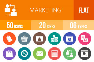50 Marketing Flat Round Icons - Overview - IconBunny