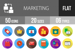 50 Marketing Flat Shadowed Icons - Overview - IconBunny