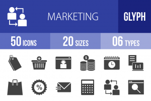 50 Marketing Glyph Icons - Overview - IconBunny