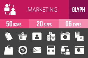 50 Marketing Glyph Inverted Icons - Overview - IconBunny