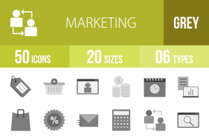 50 Marketing Greyscale Icons - Overview - IconBunny