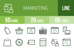 50 Marketing Line Green Black Icons - Overview - IconBunny