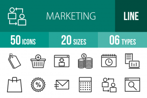 50 Marketing Line Icons - Overview - IconBunny