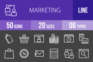 50 Marketing Line Inverted Icons - Overview - IconBunny