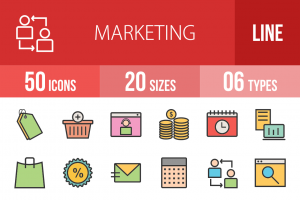 50 Marketing Line Multicolor Filled Icons - Overview - IconBunny