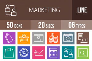 50 Marketing Line Multicolor B/G Icons - Overview - IconBunny