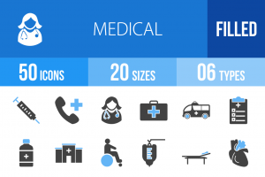 50 Medical Blue & Black Icons - Overview - IconBunny