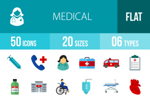 50 Medical Flat Multicolor Icons - Overview - IconBunny