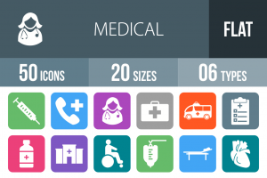 50 Medical Flat Round Corner Icons - Overview - IconBunny