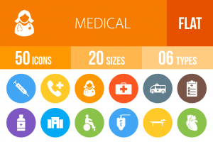 50 Medical Flat Round Icons - Overview - IconBunny