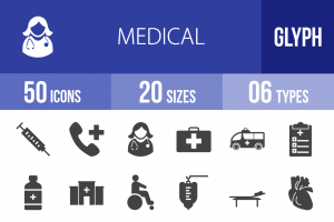 50 Medical Glyph Icons - Overview - IconBunny