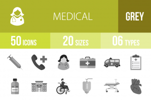 50 Medical Greyscale Icons - Overview - IconBunny