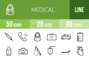 50 Medical Line Green & Black Icons - Overview - IconBunny