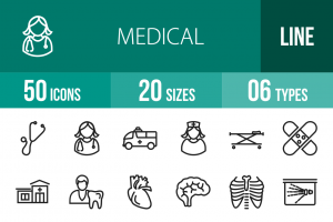 50 Medical Line Icons - Overview - IconBunny