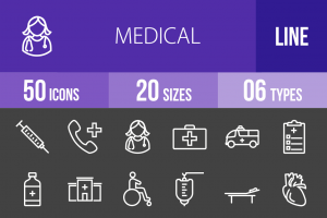 50 Medical Line Inverted Icons - Overview - IconBunny