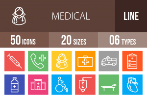 50 Medical Line Multicolor B/G Icons - Overview - IconBunny