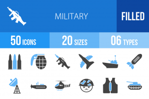 50 Military Blue & Black Icons - Overview - IconBunny