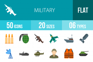 50 Military Flat Multicolor Icons - Overview - IconBunny