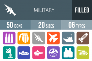 50 Military Flat Round Corner Icons - Overview - IconBunny