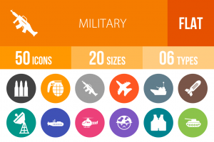 50 Military Flat Round Icons - Overview - IconBunny