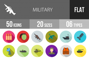 50 Military Flat Shadowed Icons - Overview - IconBunny