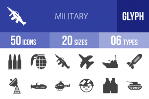 50 Military Glyph Icons - Overview - IconBunny