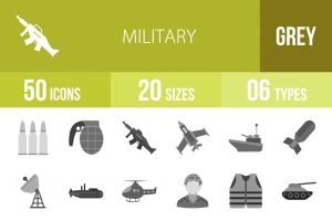 50 Military Greyscale Icons - Overview - IconBunny