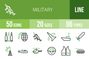 50 Military Line Green & Black Icons - Overview - IconBunny