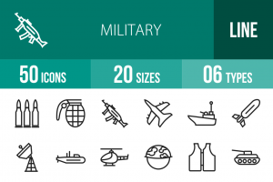 50 Military Line Icons - Overview - IconBunny