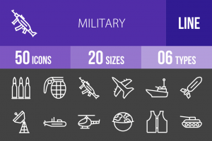 50 Military Line Inverted Icons - Overview - IconBunny