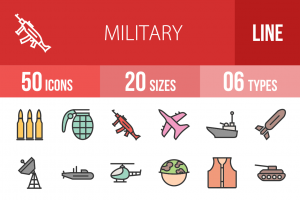 50 Military Line Multicolor Filled Icons - Overview - IconBunny