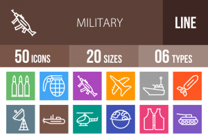 50 Military Line Multicolor B/G Icons - Overview - IconBunny