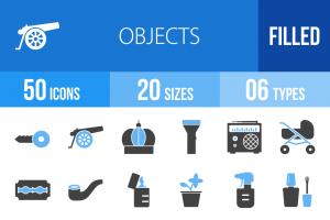 50 Objects Blue & Black Icons - Overview - IconBunny