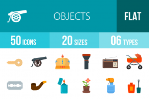 50 Objects Flat Multicolor Icons - Overview - IconBunny