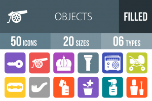 50 Objects Flat Round Corner Icons - Overview - IconBunny