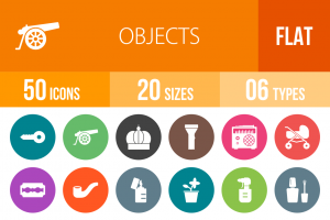 50 Objects Flat Round Icons - Overview - IconBunny