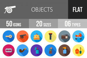 50 Objects Flat Shadowed Icons - Overview - IconBunny